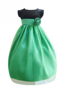 Black Velvet & Kelly Green Dress