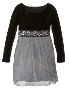Black Velvet & Silver Mesh Skirted Dress