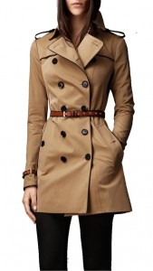 Khaki Double Breasted Belted Trenchcoat