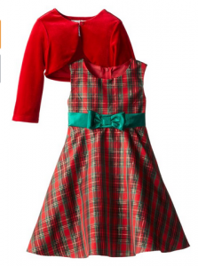Red & Green Plaid Dress with Cardigan