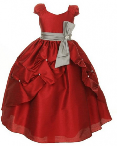 Red Party Dress with Silver Bow
