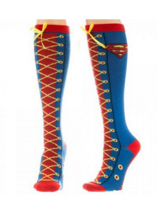 Supergirl Faux Lace Up Socks