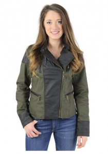 Twill Leather Moto Jacket